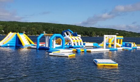 inflatable obstacles floating on lake